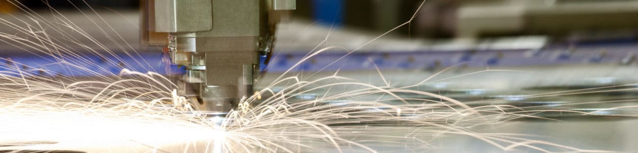 Laser metal-cutting CNC tool in operation